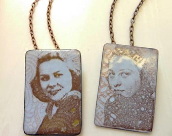 Custom Glass Enamel Portrait on Copper, Personalized, Memento, Phototransfer Collage, Vintage Photograph Necklace, One of A Kind