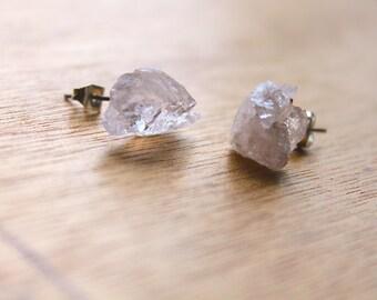 1 Pair Raw Rose Quartz Pretty Stainless Steel Raw Earrings GENUINE Crystal Natural RAW Rose QUARTZ earrings jewelry druzy rose quartz