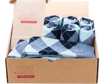 Groomsmen Socks Kit - Baby Blue Argyle - Premium Cotton - 8 Pairs