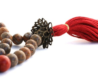 Picture Jasper Mala Tassel Necklace with Brass Lotus Guru Bead - Picture Jasper Buddhist Prayer Beads - Tibetan Mala