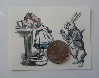 Temporary Tattoo - Alice in Wonderland / Alice and The White Rabbit/Tweedledum and Tweedledee / Tattoo Flash