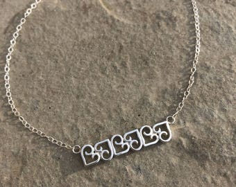 Scroll Hearts Bar Style Necklace