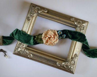 Peach Camellia Flower Choker in Green Velvet, Handcrafted Floral Necklace
