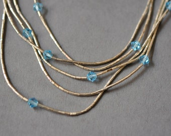 Vintage Native American Liquid Silver Multi strand Necklace with Blue Crystal Beads