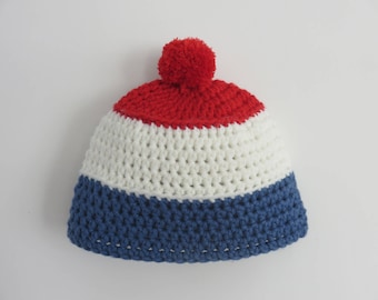 Wool french flag Beanie Hat