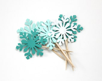 Snowflake Cupcake Toppers, Winter Wedding, Cake Toppers, Food Picks