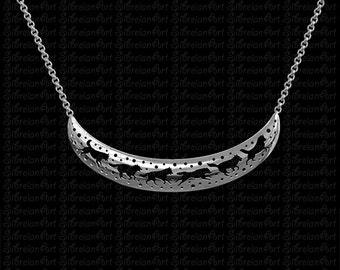 3D Siberian Husky crescent necklace - sterling silver