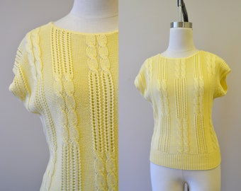 1980s Yellow Cable Knit Sweater