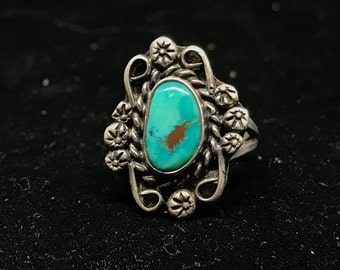 Vintage Old Pawn Sterling Silver and Turquoise Ring Size 5