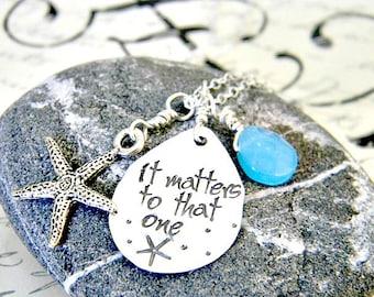 starfish necklace - starfish story -hand stamped -  sterling silver - teacher gift  - adoption - beach  - coastal