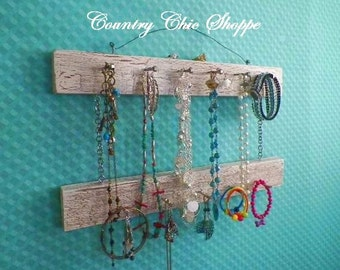 "2 Tier Necklace Organizer in Crackle Pattern..16"" Long with 13 Pegs..Pick Your Favorite Colors.. Great Closet or Bathroom Organizer"