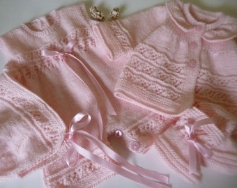 READY TO SHIP, Christening Set,Knitted Romper Set, Take Home Romper, Baby Girl Outfit, Baby Shower Gift, Coming Home Set, Christms Gift.