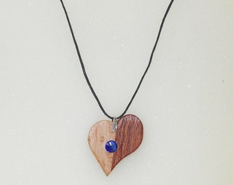 Wooden Heart Birthstone Necklace Charm With Swarovski Crystal September (Dark Blue)