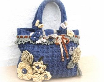 handmade bag , crochet bag , gift ideas , flowers,beads,ribbon,lace!!!
