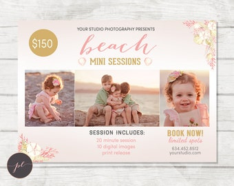 Summer Mini Session template, Beach Photography, Summer Marketing, Photoshop Template, Coral Gold, Instant Download