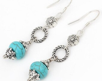Turquoise Magnesite Stone Flower Dangle Silver Earrings