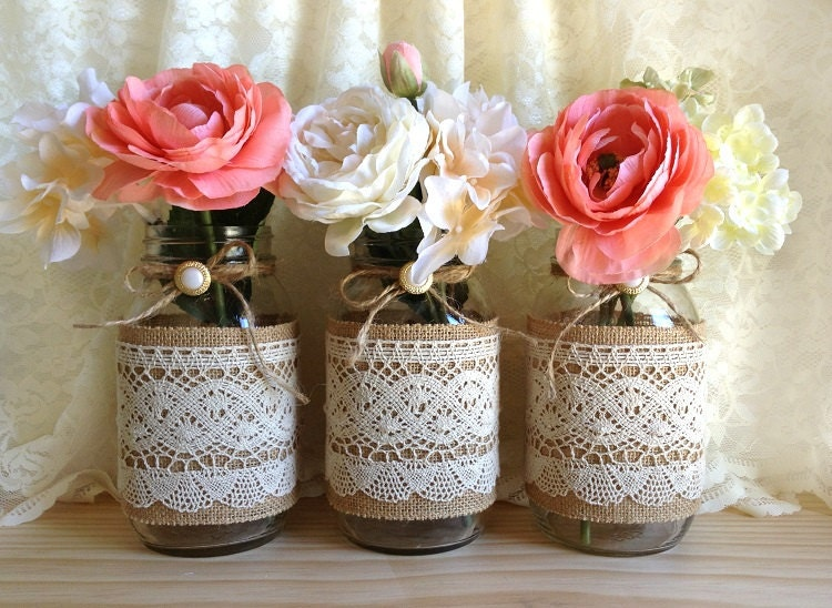 Burlap and lace covered 3 mason jar vases wedding deocration zoom solutioingenieria Gallery