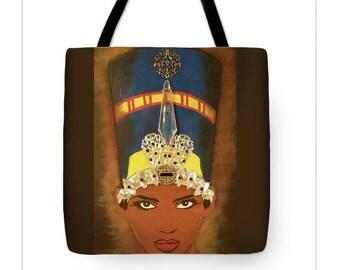 Black Neferteti  TOTE BAG (18X18), Neferteti Art, Black Art, Black Neferteti Painting
