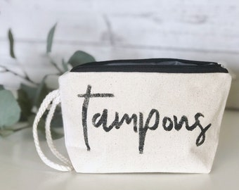 Tampons | Canvas Wristlet | Canvas Makeup Bag | Travel Pouch | Mother's Day Gift | Funny Women's Gift | Made To Order