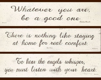 Inspirational Word Prints. Jane Austen, Abe Lincoln quotes. Brown on cream. Choose one