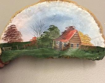 Folk art, done on a piece of tree fungus