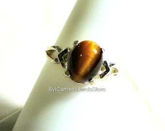 Golden Tigers Eye Gemstone Midi Sterling Silver Ring Jewelry SylCameoJewelsStore