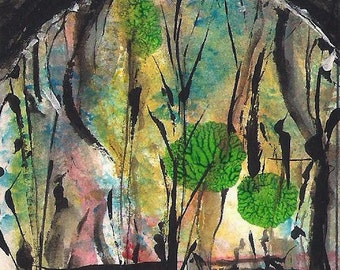 No. 40016, ACEO Art Cards Editions & Originals ATC Fantasy Landscape by NoRaHzArT