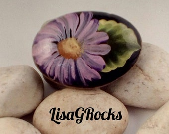 Purple Daisy Painted Rock