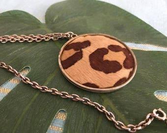 Vintage 1960's Leopard Pendant Necklace -- Statement Piece -- Mod Retro