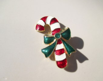 Christmas Candy Cane Brooch Pin Vintage xmas jewelry