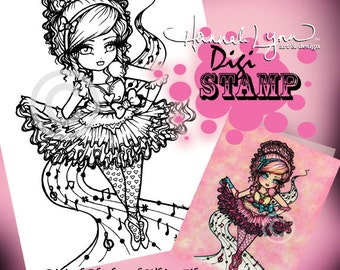 PRINTABLE Digi Stamp Ballet Dancer Coloring Page Fun Fantasy Art Hannah Lynn