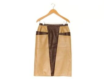 Vintage Leather Skirt / Beige Brown / Pencil Fitted / High Waist / Below Knee / 80s 90s / medium