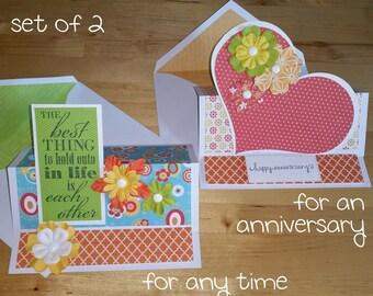 Anniversary, Card, 3-D, Easel, Pop Up, Love, Feminine, Handmade, 3D, Pop-Up, Folded, 2-Card set