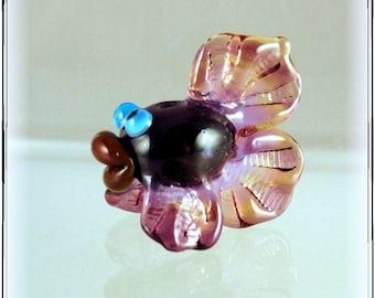 Purple and Amber Whimsical Fun Artisan Handmade Lampwork Fancy-tailed Fish Bead