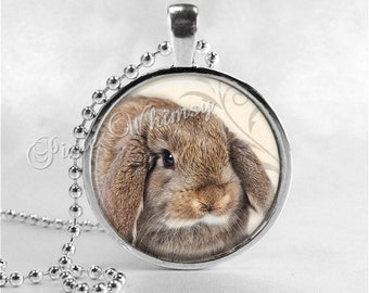 RABBIT Pendant Necklace Lop Ear Rabbit, Lop Eared Rabbit Jewelry, Brown Bunny Jewelry Charm, Easter Jewelry, Photo Art Glass Necklace