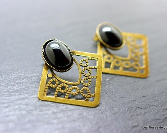 Emma, Earrings art deco Emma, bronze earrings, semi precious stones, onyx