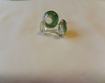 Handmade glass cufflinks in green and clear glass