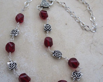 True Romance Necklace, red, ruby, sterling, heart, gift for her