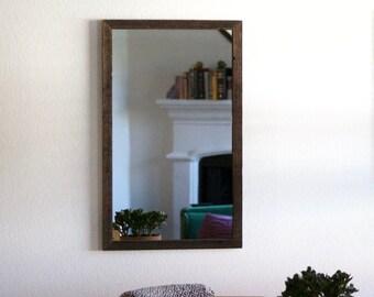 Rustic Wood Mirror, Rustic Wall Mirror, Wall Mirror, Vanity Mirror, Bathroom Mirror, Reclaimed Wood Mirror, Skinny Frame, Wood Framed Mirror