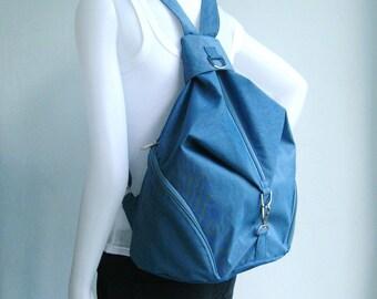 Sale - Dark Sky Blue Water Resistant Nylon Backpack - Shoulder bag, Diaper bag, Messenger bag, Travel Bag - KONO