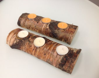 Set of 2 Natural Birch Tree Handmade Candle Holders