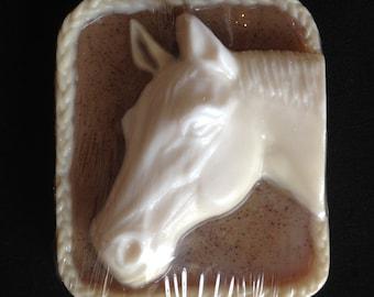 Sandalwood Vanilla Glycerin and Goats Milk Horse Head soap bar by Lavish Handcrafted