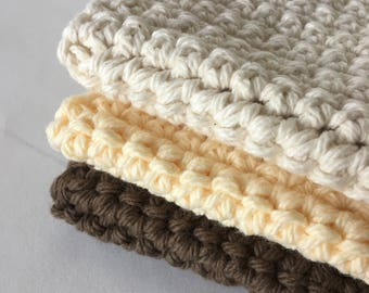 3 Kitchen Crochet Cotton Wash Cloths, Kitchen Dish Cloths Kitchen and Dining Towels Housewarming Gift Free Shipping