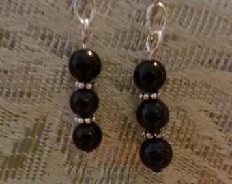 Blue goldstone and silver drop earrings