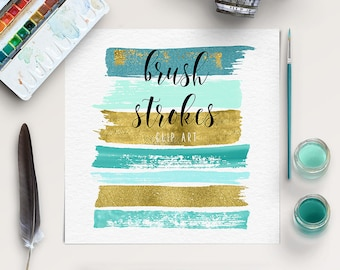 SHINE BRIGHT | Brush Stroke Clip Art | Mint, Gold Graphic Elements | Hand Painted Clip Art | Acrylic Brush Strokes | BUY5FOR8