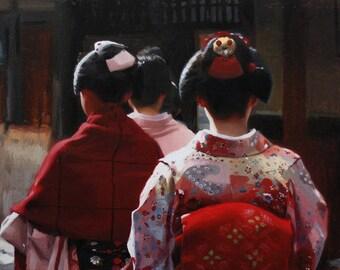 "Beginning - signed 8"" x 10"" print of an original painting - japanese geisha art asian maiko artwork"