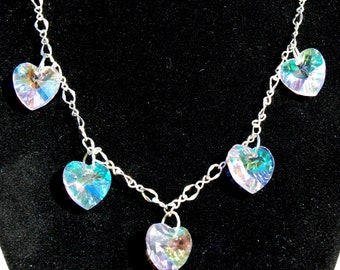 low cost fashion jewelry, hearts silver chain, love, inexpensive