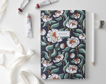 Peony Floral Notebook / Floral Diary, Botanical Journal, Stationery Composition Notebook Jotter, Floral Sketchbook, Illustrated Notebook