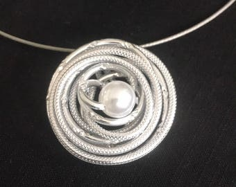 Handmade Aluminum Wire Necklace with matching ring