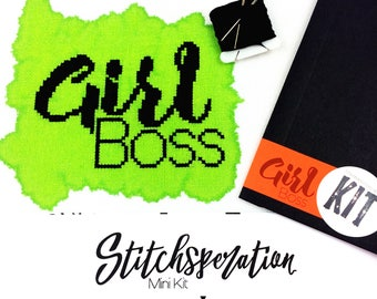 Girl Boss -  Modern Cross Stitch Kit - Mini Cross Stitch Kit - Hand Painted Fabric - Needlepoint Kit - DIY Kit - Embroidery Kit